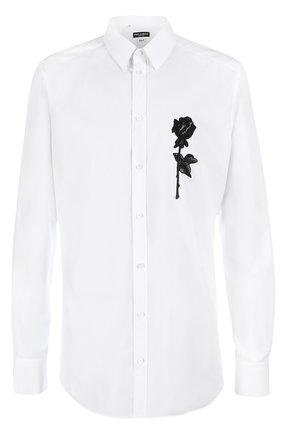 Хлопковая сорочка с вышивкой   Dolce & Gabbana белая | Фото №1
