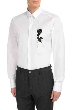 Хлопковая сорочка с вышивкой   Dolce & Gabbana белая | Фото №3