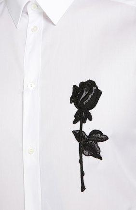 Хлопковая сорочка с вышивкой   Dolce & Gabbana белая | Фото №5
