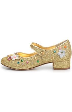 Детские туфли с глиттером и декором Dolce & Gabbana золотого цвета | Фото №1