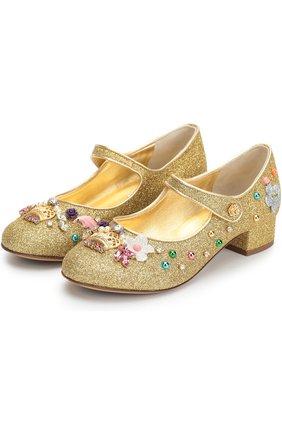 Детские туфли с глиттером и декором Dolce & Gabbana золотого цвета | Фото №2