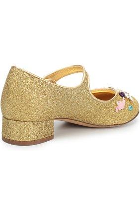 Детские туфли с глиттером и декором Dolce & Gabbana золотого цвета | Фото №3