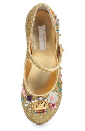 Детские туфли с глиттером и декором Dolce & Gabbana золотого цвета | Фото №4