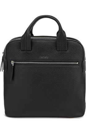 Кожаный рюкзак с двумя ручками и внешним карманом   Фото №1