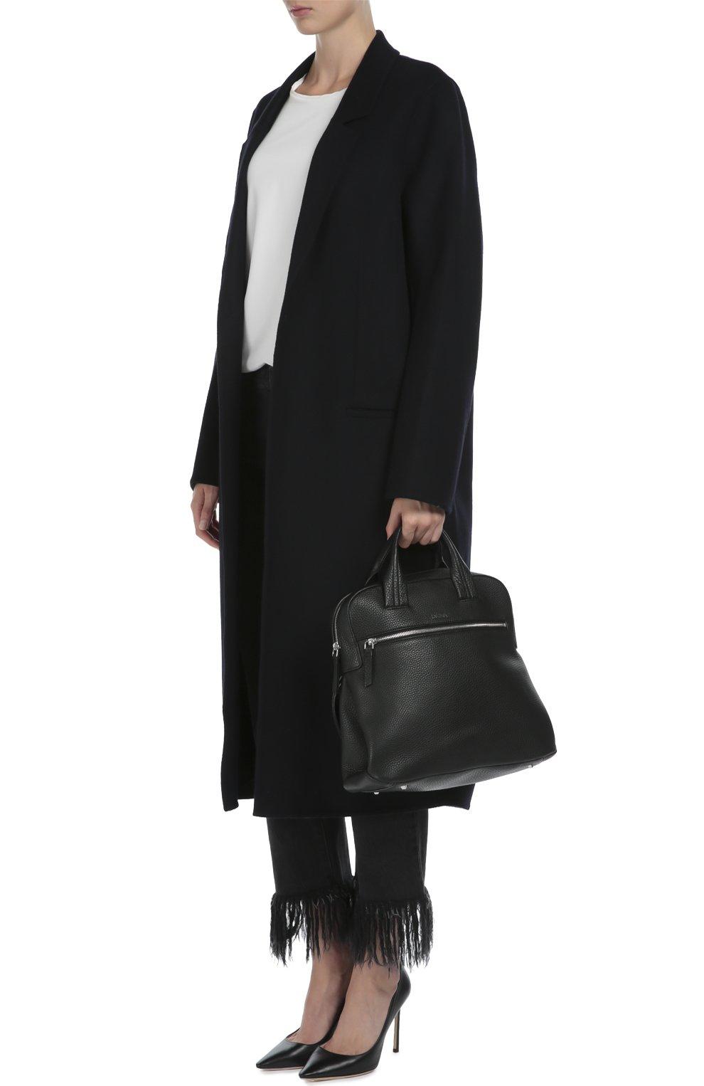 Кожаный рюкзак с двумя ручками и внешним карманом   Фото №2