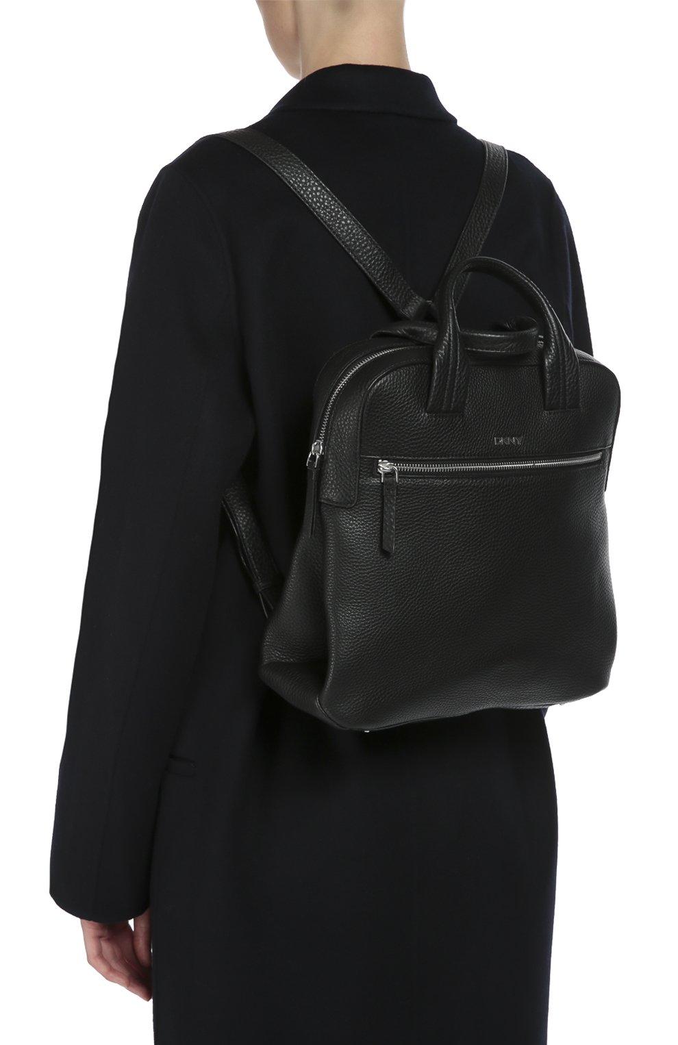 Кожаный рюкзак с двумя ручками и внешним карманом   Фото №5