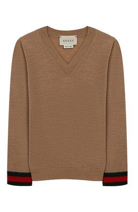 Пуловер из шерсти с контрастными манжетами | Фото №1