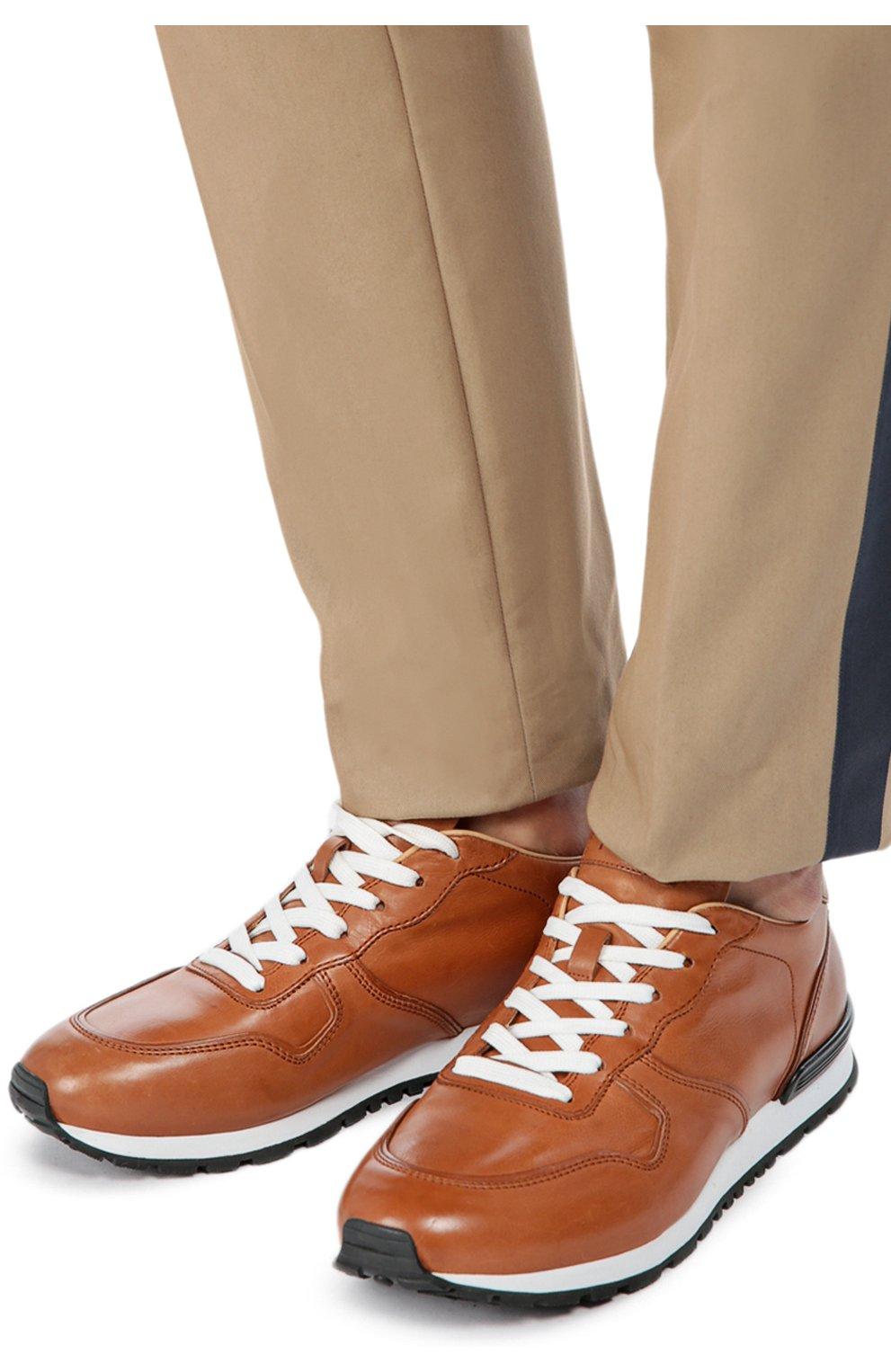 Кожаные кроссовки на шнуровке | Фото №2