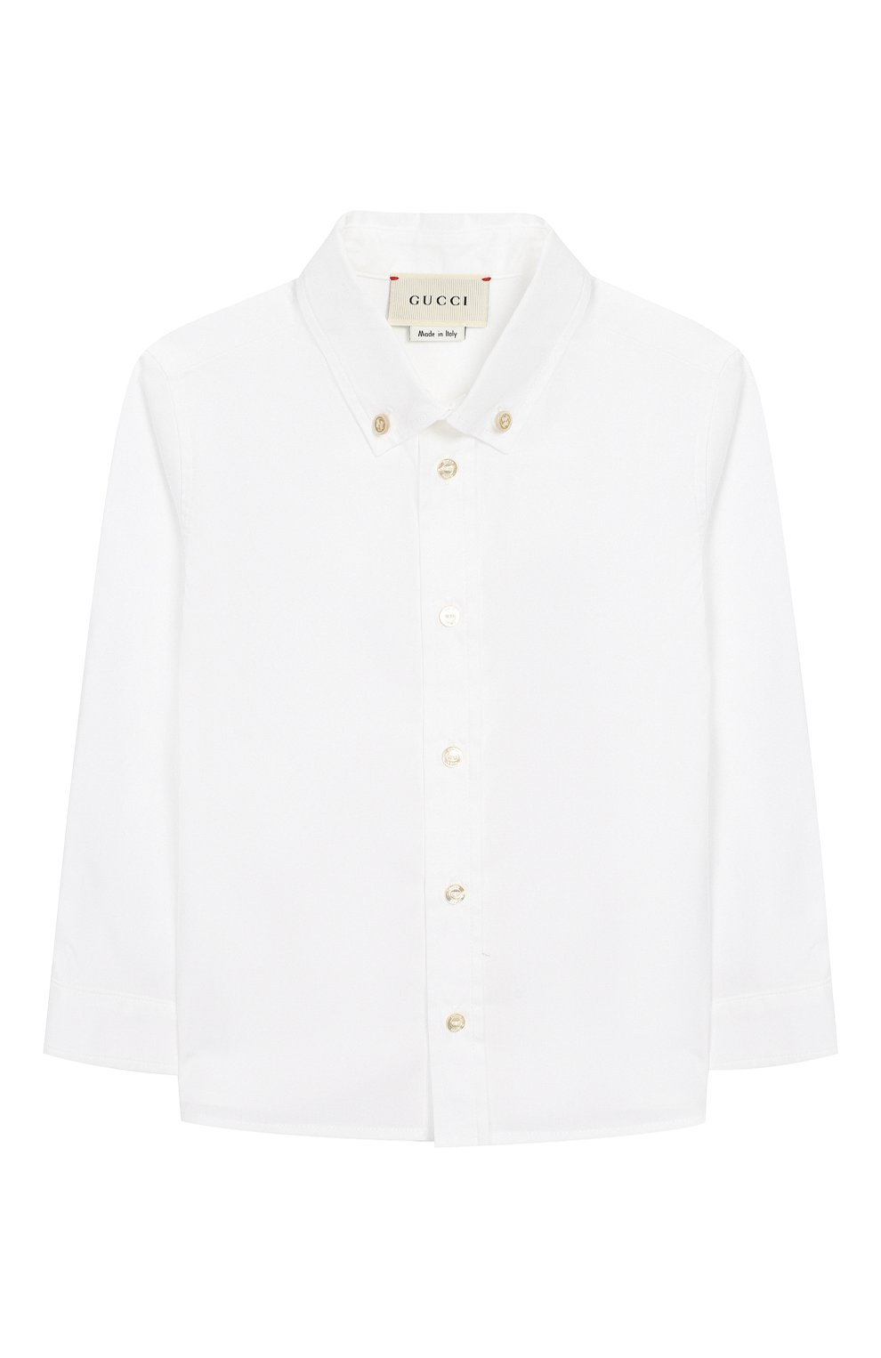 Детский хлопковая рубашка с воротником button down GUCCI белого цвета, арт. 430284/XB365 | Фото 1