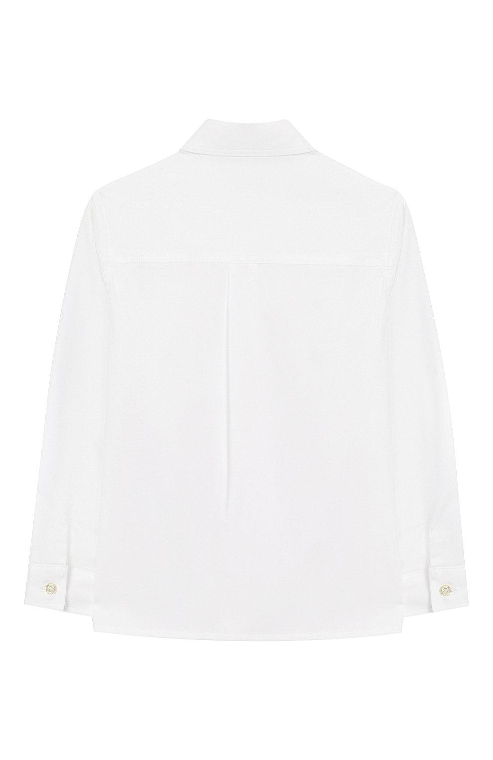 Детский хлопковая рубашка с воротником button down GUCCI белого цвета, арт. 430284/XB365 | Фото 2