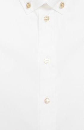 Детский хлопковая рубашка с воротником button down GUCCI белого цвета, арт. 430284/XB365 | Фото 3