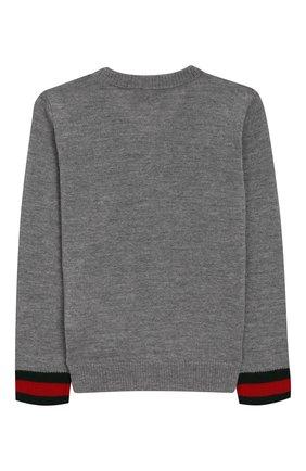 Пуловер из шерсти с контрастными манжетами | Фото №2