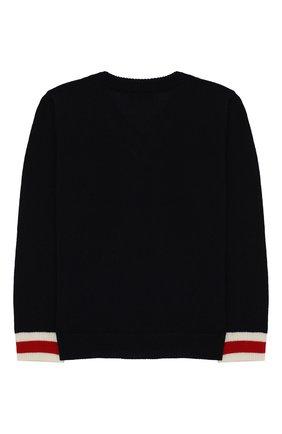 Детский пуловер из шерсти с контрастными манжетами GUCCI синего цвета, арт. 418776/X1284 | Фото 2
