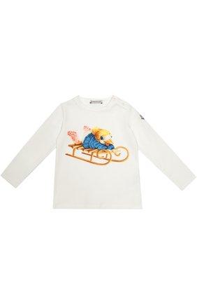 Детский футболка джерси с принтом MONCLER ENFANT белого цвета, арт. B2-951-80606-50-87275 | Фото 1