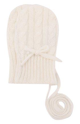Детские кашемировые варежки фактурной вязки LORO PIANA белого цвета, арт. FAD5707   Фото 1
