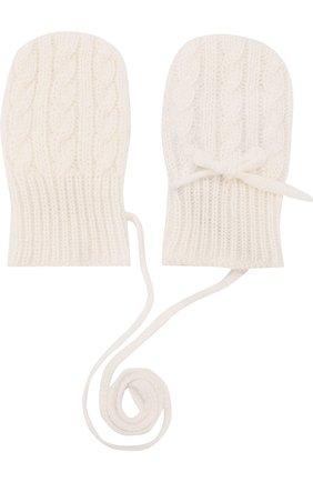 Детские кашемировые варежки фактурной вязки LORO PIANA белого цвета, арт. FAD5707   Фото 2