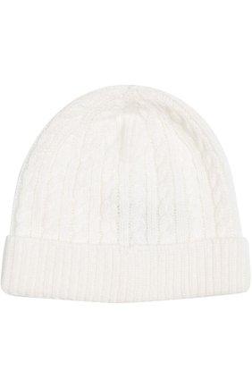 Детского шапка фактурной вязки из кашемира LORO PIANA белого цвета, арт. FAD5706 | Фото 1