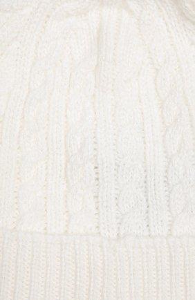 Детского шапка фактурной вязки из кашемира LORO PIANA белого цвета, арт. FAD5706 | Фото 2