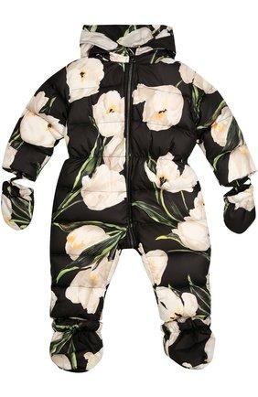 Комбинезон с цветочным принтом Dolce & Gabbana черно-белого цвета | Фото №1
