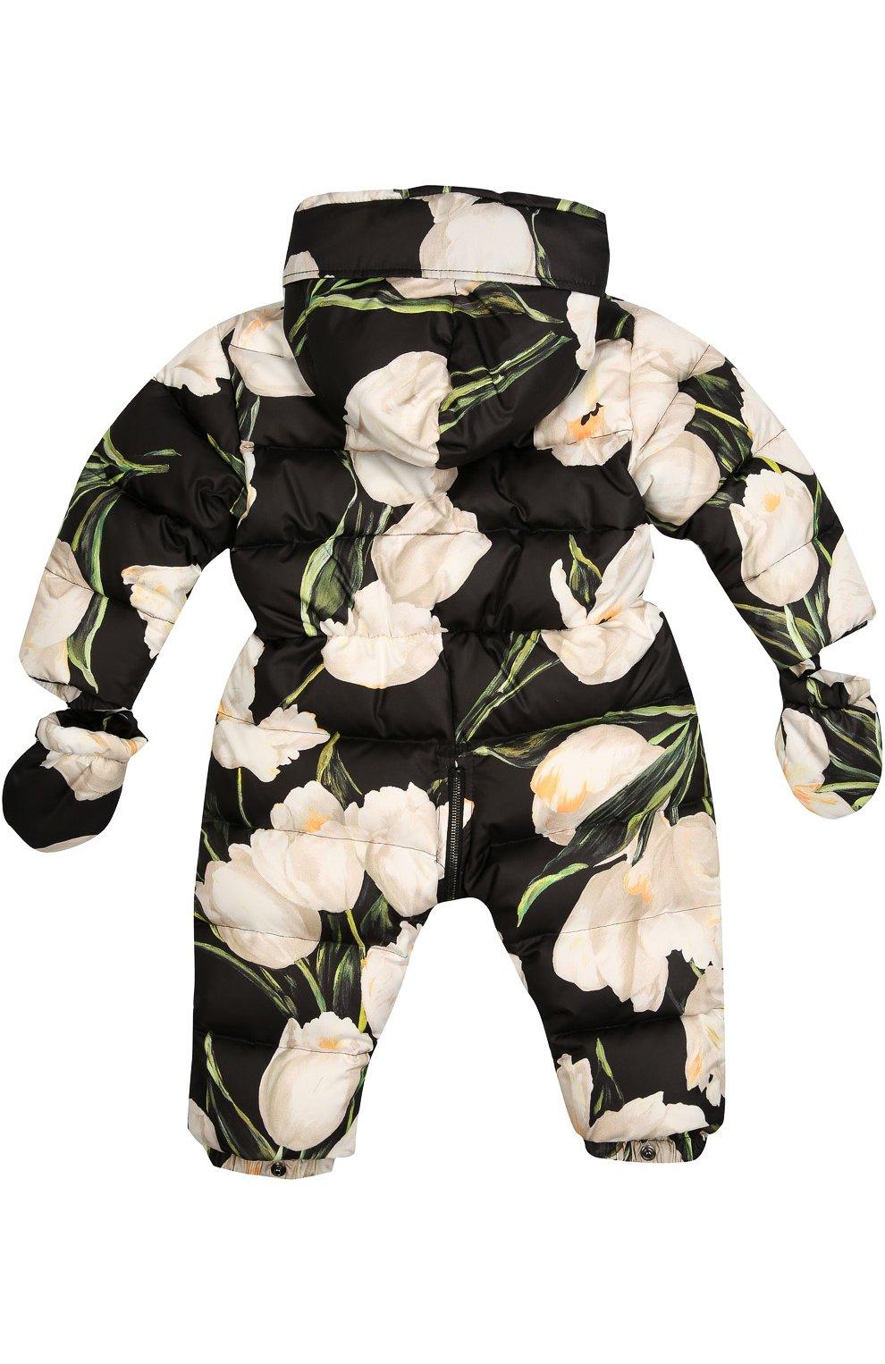Комбинезон с цветочным принтом Dolce & Gabbana черно-белого цвета | Фото №2