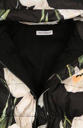 Комбинезон с цветочным принтом Dolce & Gabbana черно-белого цвета | Фото №3