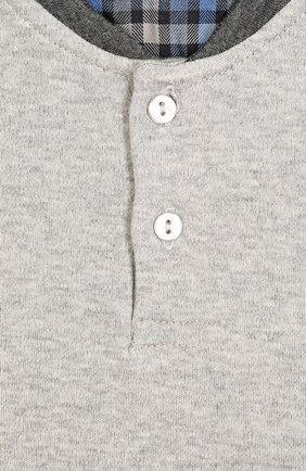 Детская хлопковая футболка хенли с длинными рукавами Grigioperla серого цвета | Фото №1