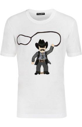 Хлопковая футболка с аппликацией Dolce & Gabbana белая   Фото №1