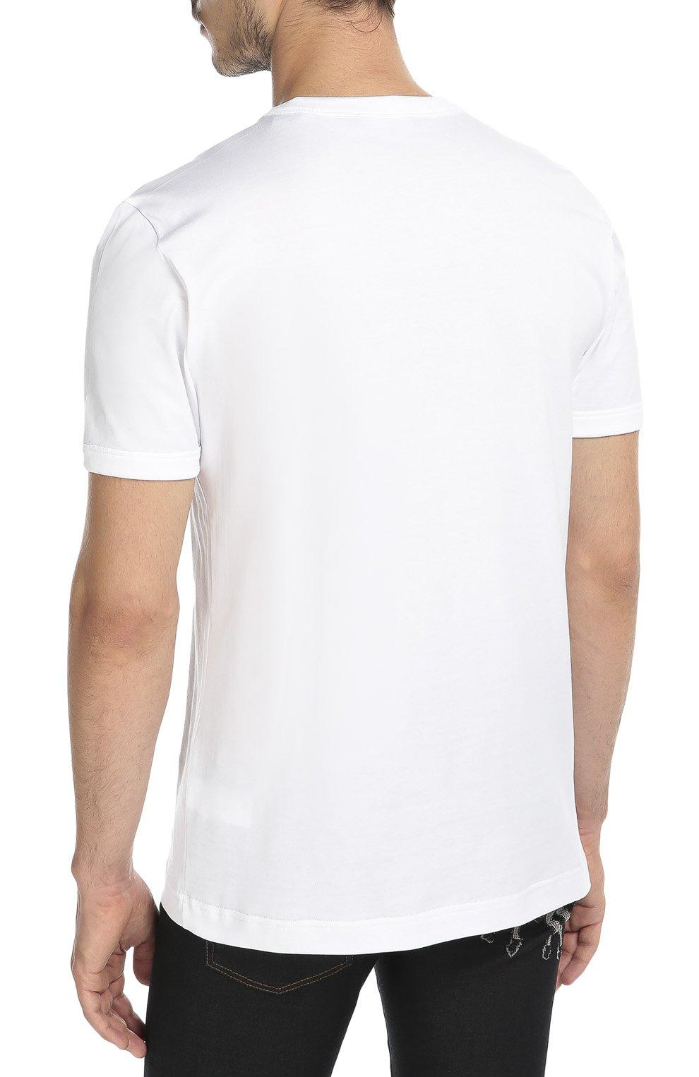 Хлопковая футболка с аппликацией Dolce & Gabbana белая   Фото №4