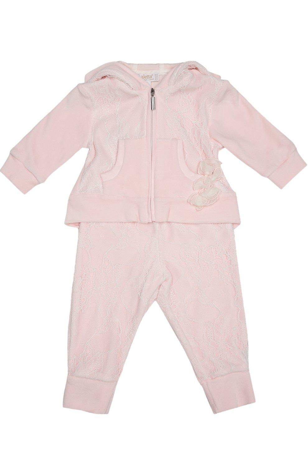 Детский костюм спортивный с футболкой  ALETTA розового цвета, арт. RP666112CIN/1M-18M | Фото 1