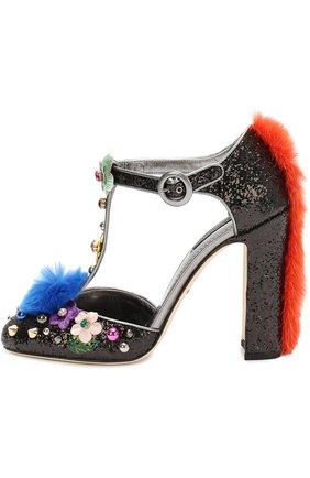 Туфли Vally с глиттером и декором Dolce & Gabbana черные | Фото №1