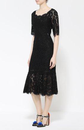 Туфли Vally с глиттером и декором Dolce & Gabbana черные | Фото №3