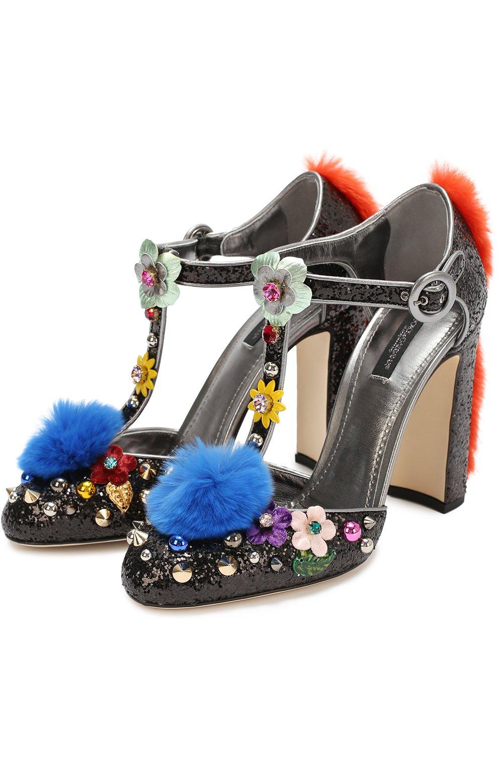 Туфли Vally с глиттером и декором Dolce & Gabbana черные | Фото №4