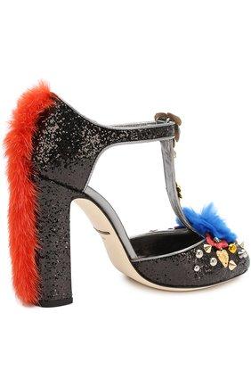 Туфли Vally с глиттером и декором Dolce & Gabbana черные | Фото №5