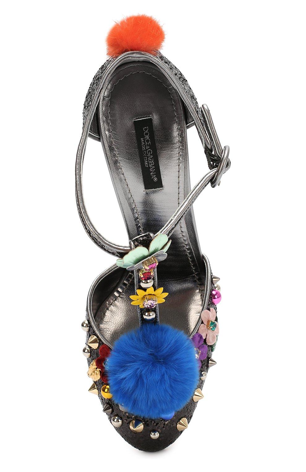 Туфли Vally с глиттером и декором Dolce & Gabbana черные | Фото №6