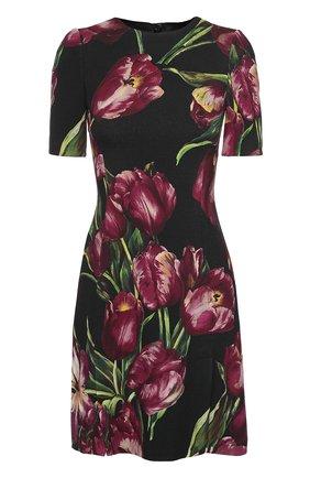 Мини-платье с коротким рукавом и цветочным принтом Dolce & Gabbana фиолетовое | Фото №1