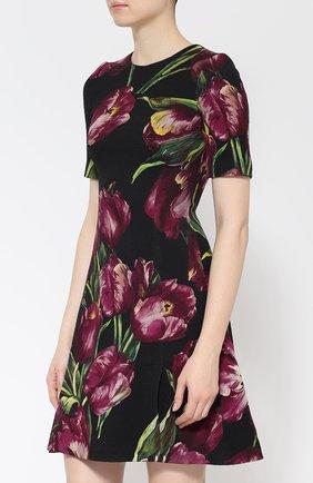Мини-платье с коротким рукавом и цветочным принтом Dolce & Gabbana фиолетовое | Фото №3