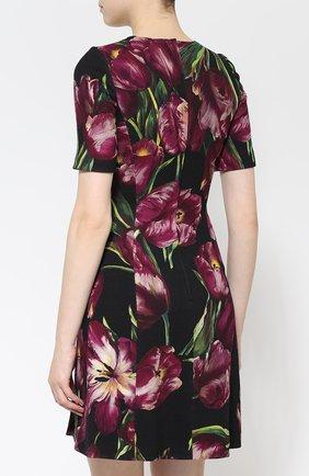 Мини-платье с коротким рукавом и цветочным принтом Dolce & Gabbana фиолетовое | Фото №4