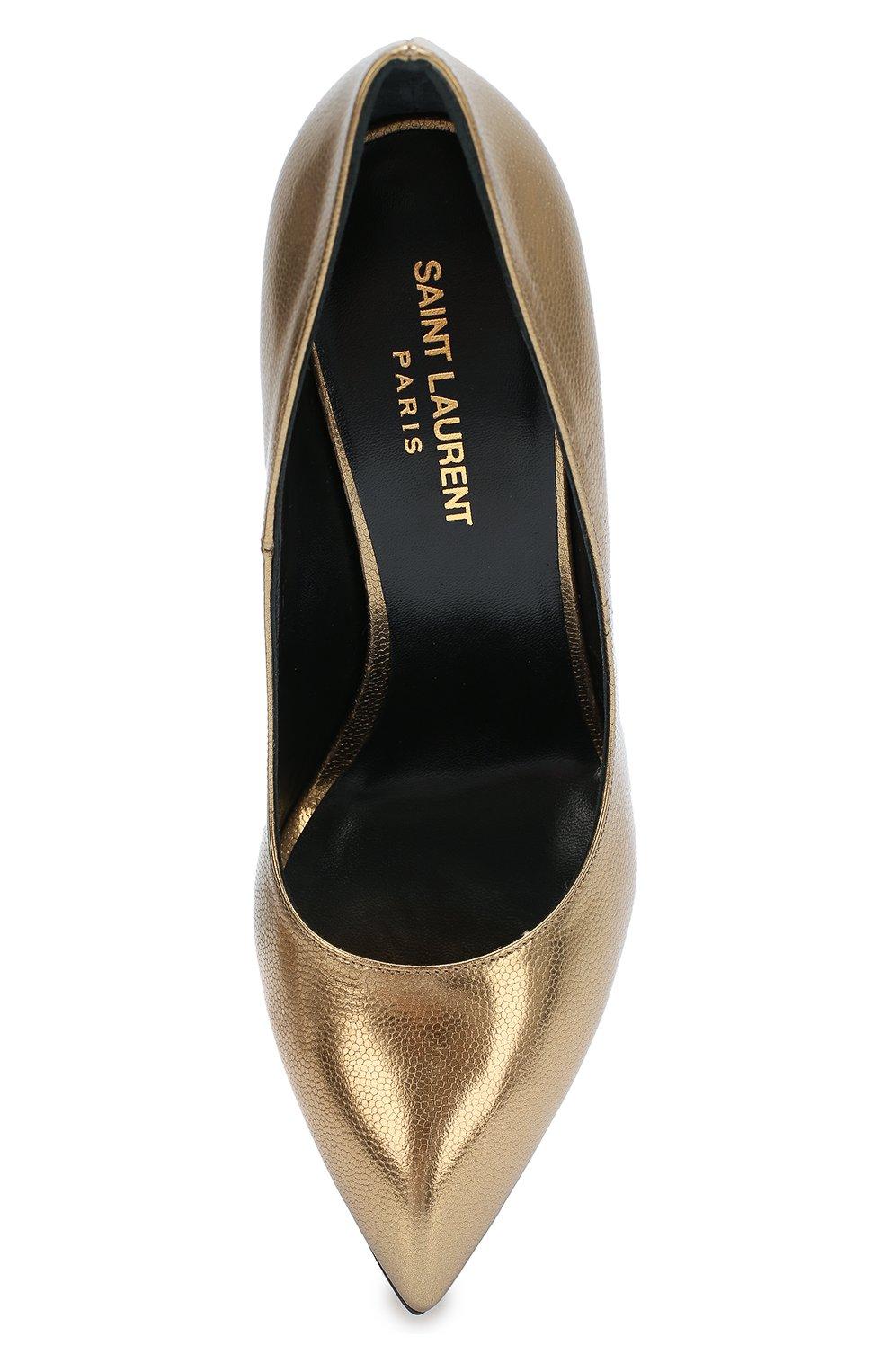 0ed51e4a8276 Женские золотые туфли janis из металлизированной кожи SAINT LAURENT ...