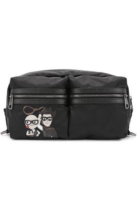 Поясная сумка Vulcano с аппликацией и отделкой из натуральной кожи Dolce & Gabbana черная   Фото №1