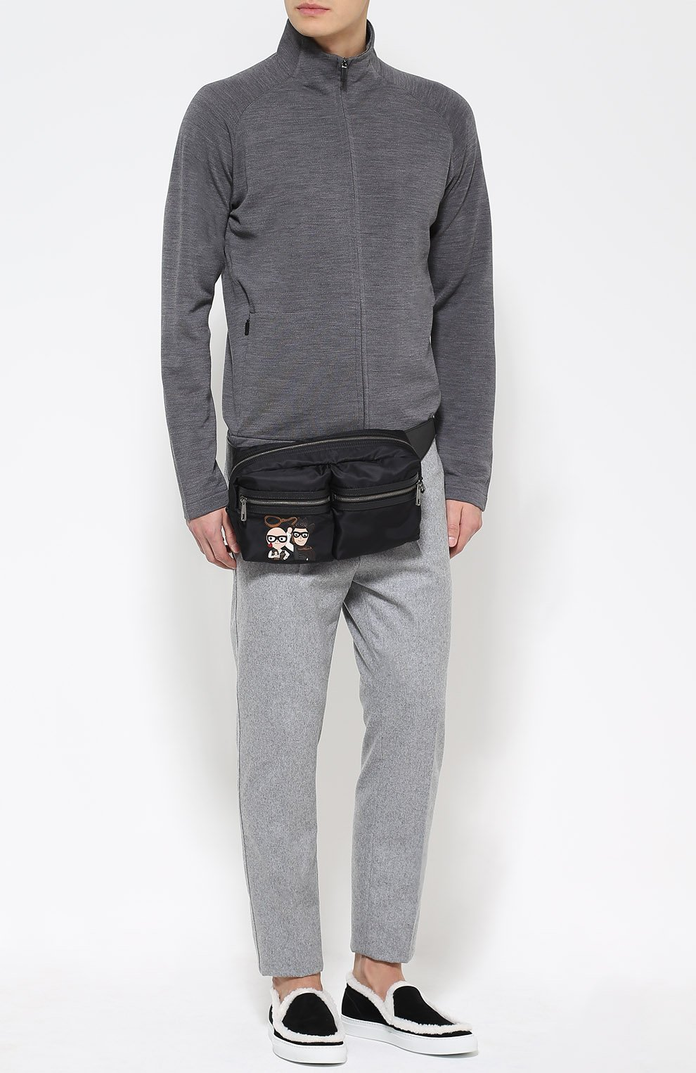 Поясная сумка Vulcano с аппликацией и отделкой из натуральной кожи Dolce & Gabbana черная   Фото №2