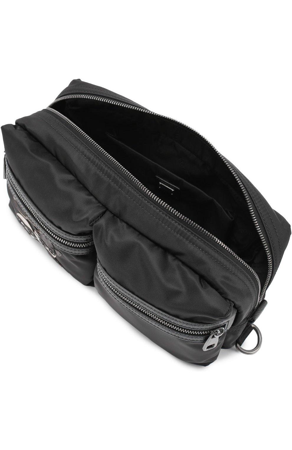 Поясная сумка Vulcano с аппликацией и отделкой из натуральной кожи Dolce & Gabbana черная   Фото №4