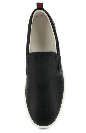 Мужские кожаные слипоны dublin GUCCI черного цвета, арт. 407364/CWCE0 | Фото 5