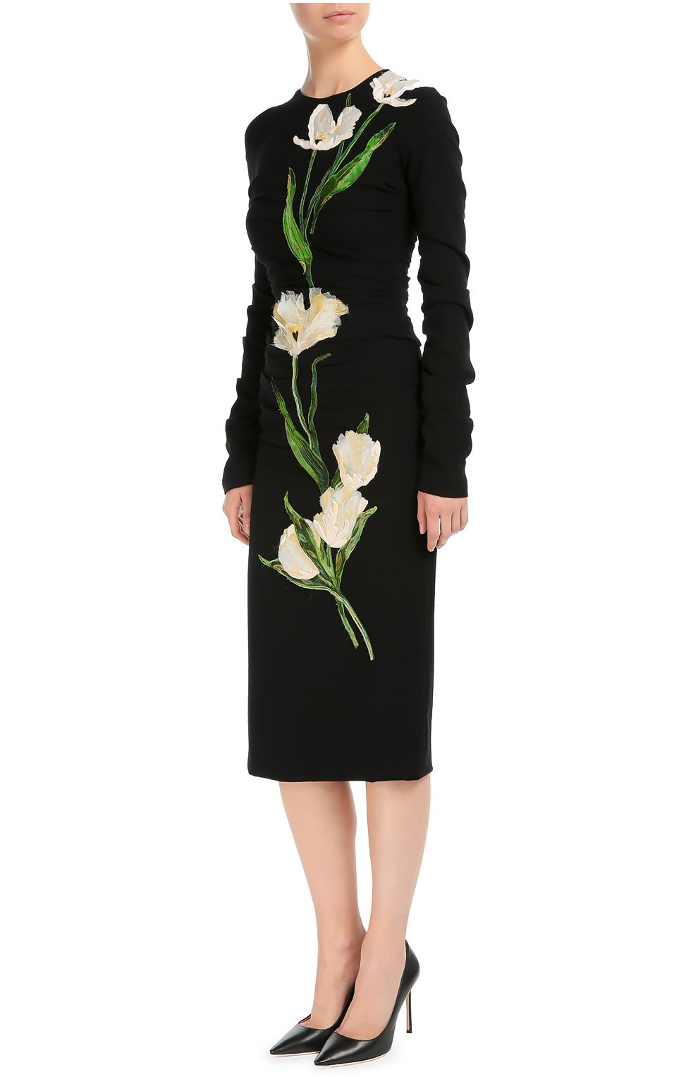 Платье-футляр с длинным рукавом и цветочной отделкой | Фото №3