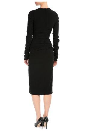 Платье-футляр с длинным рукавом и цветочной отделкой | Фото №4