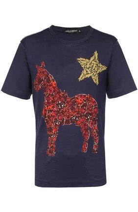Хлопковая футболка с принтом  Dolce & Gabbana темно-синяя | Фото №1