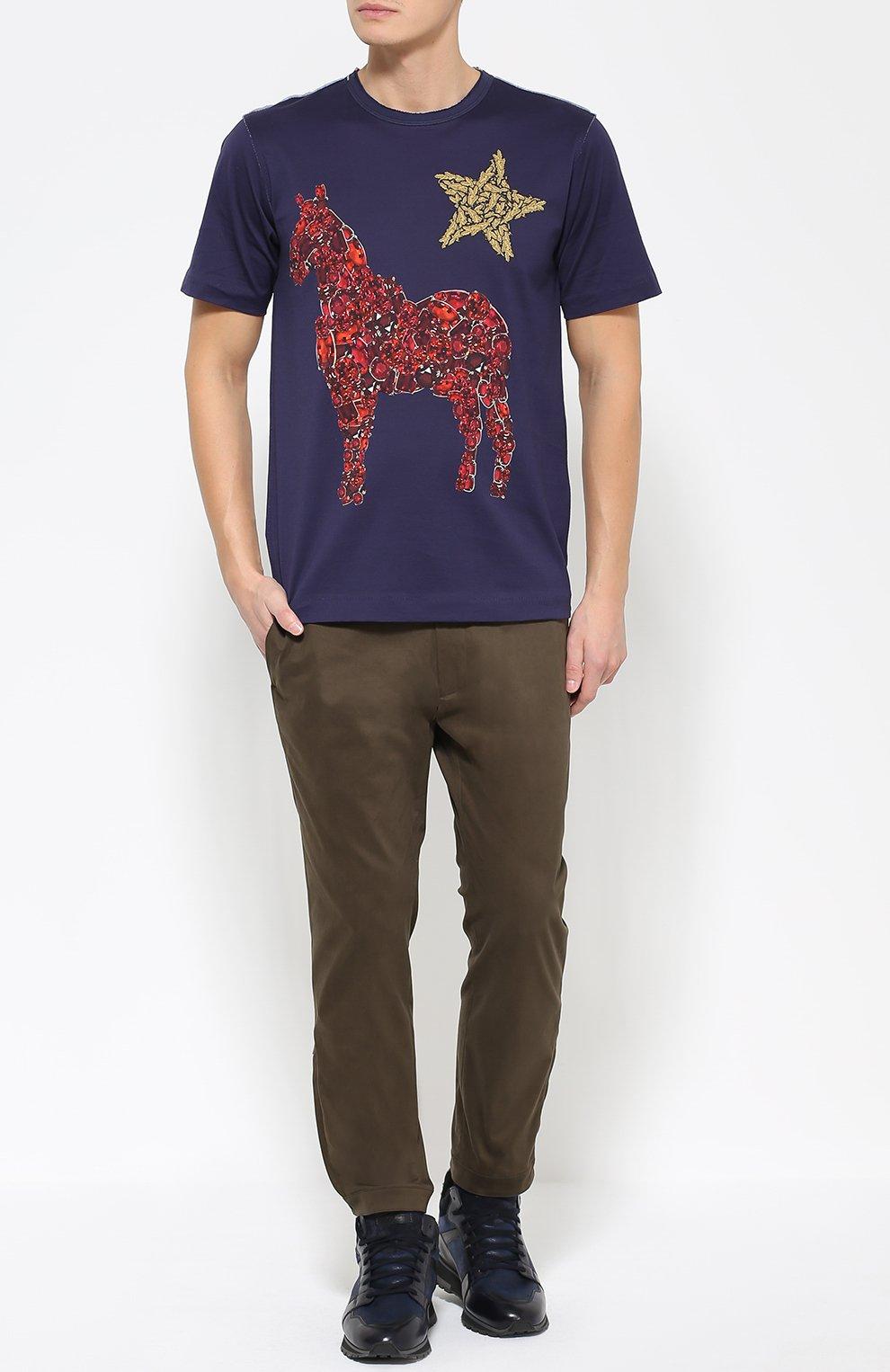 Хлопковая футболка с принтом  Dolce & Gabbana темно-синяя | Фото №2