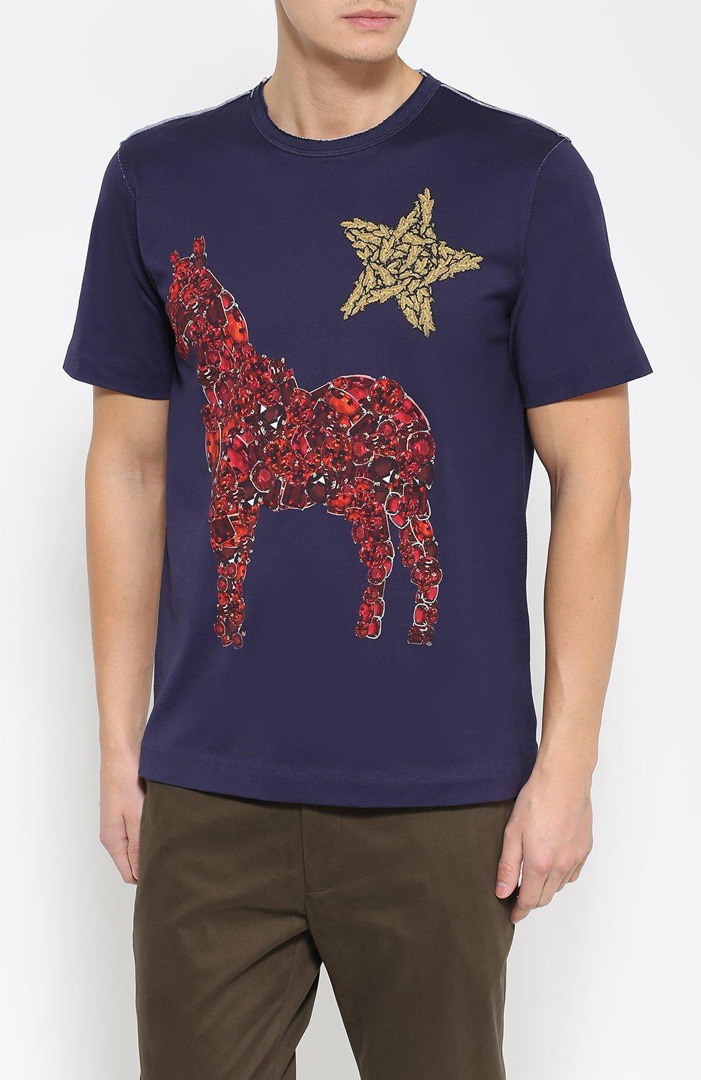 Хлопковая футболка с принтом  Dolce & Gabbana темно-синяя | Фото №3