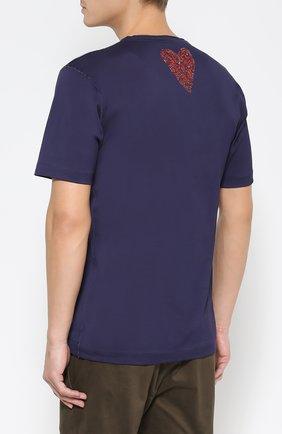 Хлопковая футболка с принтом  Dolce & Gabbana темно-синяя | Фото №4