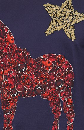 Хлопковая футболка с принтом  Dolce & Gabbana темно-синяя | Фото №5
