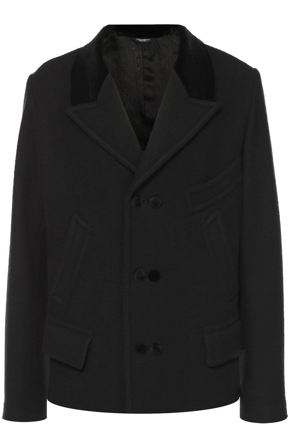 Шерстяное укороченное пальто с остроконечными лацканами   Фото №1